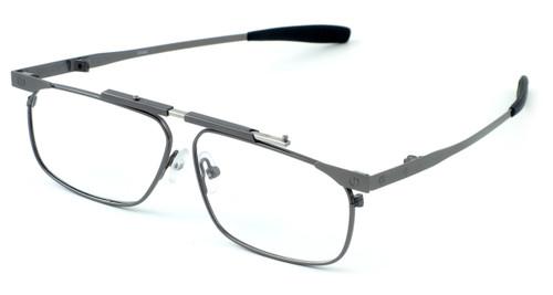 Calabria FAST-FOLD Metal Folding Eyeglasses w/ Case in Pewter :: Progressive