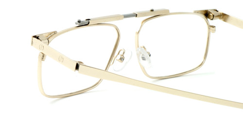 Calabria FAST-FOLD Metal Folding Eyeglasses w/ Case in Gold :: Progressive