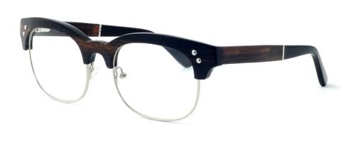 "Specs of Wood Designer Wooden Eyewear Made in the USA ""The Malcom"" in Ebony Wood (Black Silver) :: Progressive"