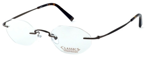 Totally Rimless Designer Eyeglasses TR145-SGE in Satin Brown :: Progressive