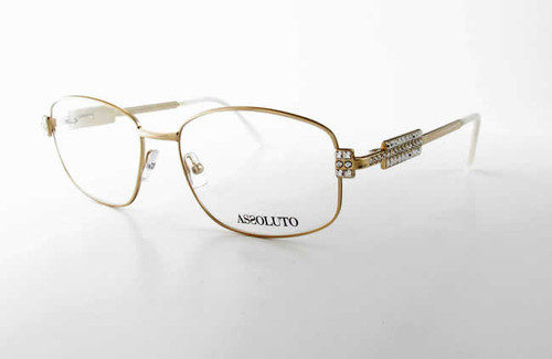 Assoluto Designer Eyeglasses EU57 in Gold-White :: Rx Bi-Focal
