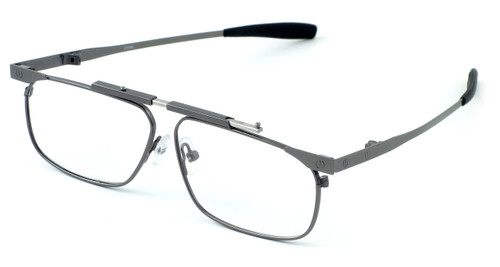 Calabria FAST-FOLD Metal Folding Eyeglasses w/ Case in Pewter :: Rx Bi-Focal