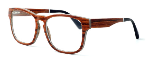 "Specs of Wood Designer Wooden Eyewear Made in the USA ""California Redwood"" in Layered Redwood (Cherry) :: Rx Bi-Focal"