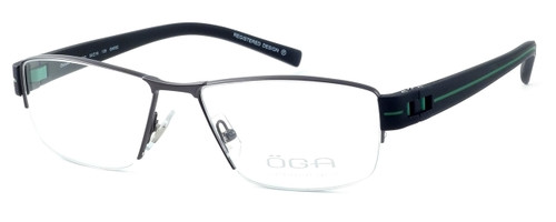 OGA Designer Eyeglasses 7922O-GN052 in Gunmetal & Green :: Rx Bi-Focal