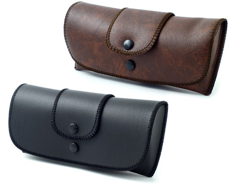 Soft Eyeglass Case in Faux Leather, Attatches to Belt, Horizontal