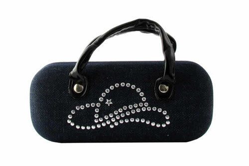 Hard Case W /Denim Material & Studded Décor.