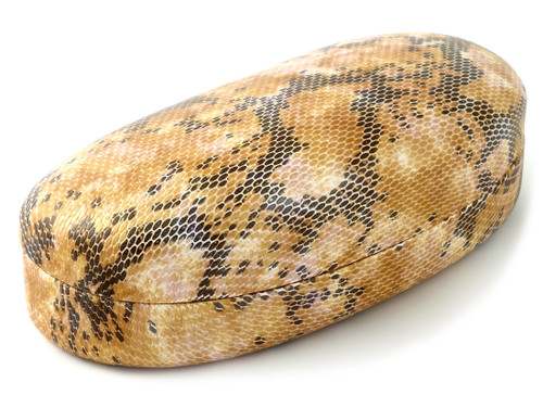 Hot in Hollywood Clamshell Hard Sunglass Case Large Size in Tan Snake Skin Color