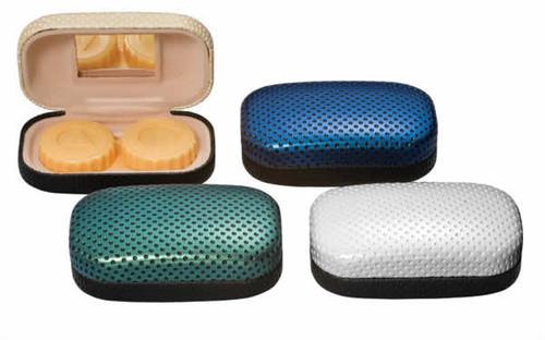 Contact Lens Case Metal w/ Fabric & Mirror CLC3