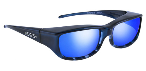 Jonathan Paul® Fitovers Eyewear Small Euroka in Blue-Ebony & Blue Mirror EU001BM