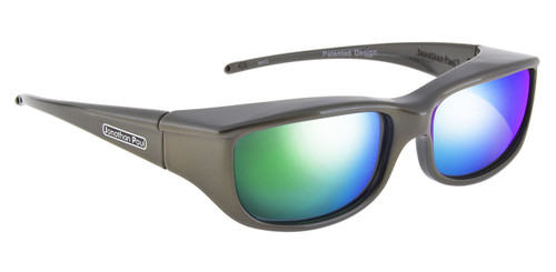 Jonathan Paul® Fitovers Eyewear Small Euroka in Gun-Metal & Green Mirror EU002GM