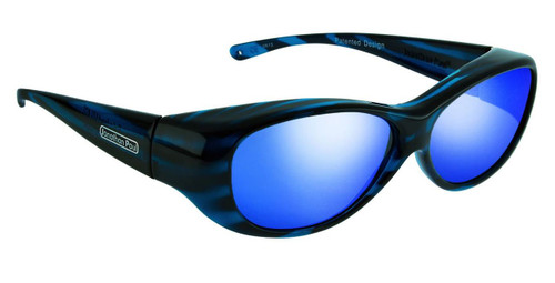 Jonathan Paul® Fitovers Eyewear Medium Kiata in Teal-Stripe & Blue Mirror KA002BM