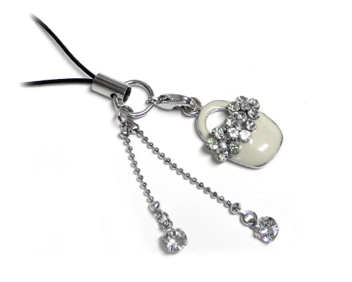Cell Phone Gems Charms Lanyard Accessory 6005 in White