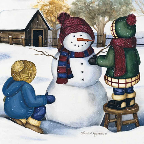 Holiday Christmas Theme Cleaning Cloth Making A Snowman