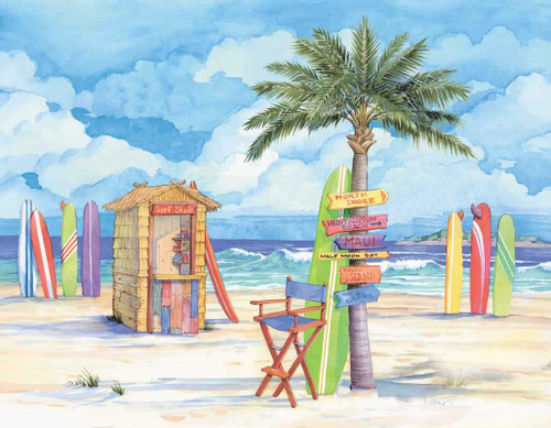 Beach with Surf Boards 240-10d-4 Artwork Micro Fiber Cleaning Cloth