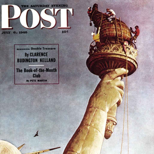 """Norman Rockwell Famous Artwork Cleaning Cloth """"Working on the Statue of Liberty"""""""