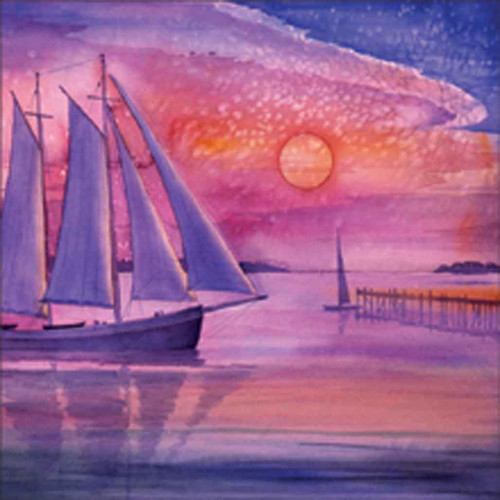 Sunset Sail I 240-10a-2 Artwork Micro Fiber Cleaning Cloth