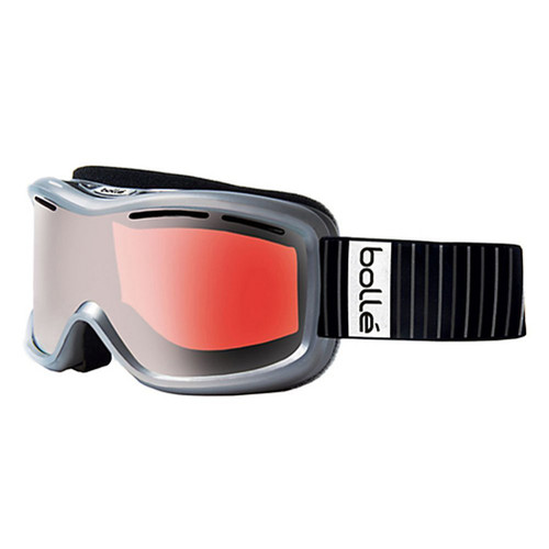 Bollé Ski Goggles: Monarch in Shiny Silver with Vermillion Gun Lens