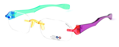 "I Wear America Designer Rimless Eyewear Made in the USA ""Freedom 1"" in Jelly Bean"