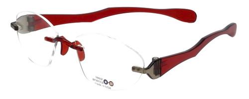 "I Wear America Designer Rimless Eyewear Made in the USA ""Freedom 1"" in Smoked Wine :: Custom Left & Right Lens"