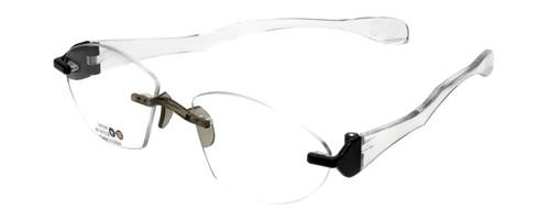 "I Wear America Designer Rimless Eyewear Made in the USA ""Freedom 1"" in Black Crystal"