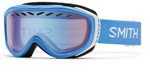 Smith Optics Snow Goggles Transit Airflow Series in French Blue Static with Blue Sensor Mirror Lens