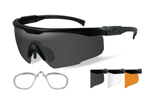 Wiley X PT-1 Rimless Safety Sunglasses Smoke/Clear/Light Rust - 3 Lens Set