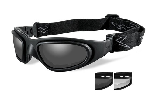 Wiley X SG-1 V-Cut Tactical Safety Goggles in Black with Smoke & Clear Lens