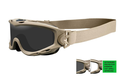 Wiley X Spear Apel Tactical Safety Goggles in Tan with Smoke & Clear Lens