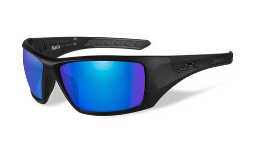 Wiley X Designer Sunglasses WX Nash in Matte Black Frame & Polarized Blue Mirror (Green) Lens
