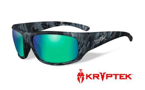 Wiley X Designer Sunglasses WX Omega in KRYPTEK NEPTUNE™ Frame & Polarized Emerald Mirror (Amber) Lens