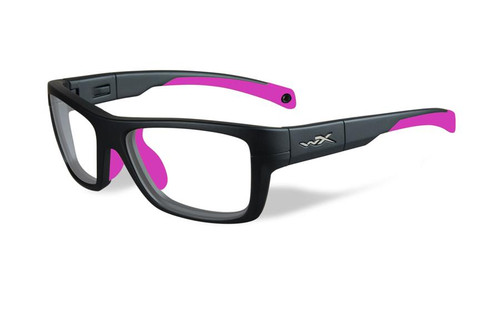 Wiley-X Designer Eyeglasses WX Crush Youth Force in Matte Grey / Deep Pink 52mm :: Rx Single Vision