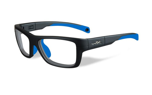 Wiley-X Designer Eyeglasses WX Crush Youth Force in Matte Grey / Blue 52mm :: Rx Single Vision