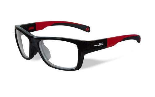 Wiley-X Designer Eyeglasses WX Crush Youth Force in Gloss Black / Red 52mm :: Progressive