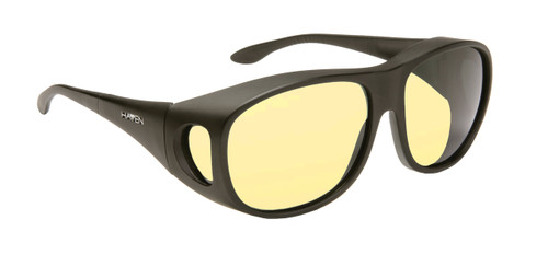 Haven Designer Fitover Sunglasses Square L Night Driver in Black & Night Driver Yellow Lens (LARGE)