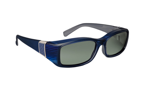 Haven Designer Fitover Sunglasses Freesia in Sapphire with Smoke Leather & Polarized Grey Lens (MEDIUM)