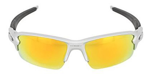 Oakley Designer Sunglasses Flak 2.0 OO9295-02 in Silver with Fire Iridium Lens