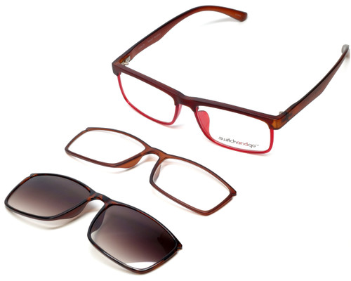 Switch and Go Switchable Eyewear 018-C8 in Matte-Brown