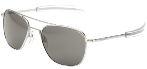 Randolph Designer Sunglasses Aviator in Matte Chrome with Polarized Gray Flash Mirror Lens