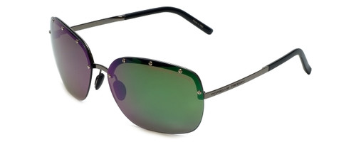 Porsche Designer Sunglasses P8576-A in Silver with Grey Green Mirror Lens