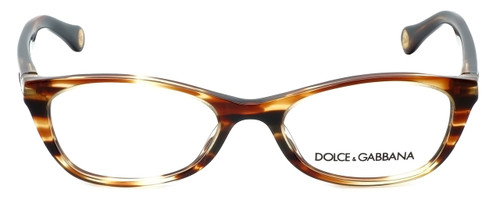 Dolce & Gabbana Designer Eyeglasses DD1218-1572 in Striped-Havana 49mm :: Custom Left & Right Lens