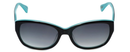 Betsey Johnson Designer Sunglasses Betseyville BV104-01 in Black-Teal with Grey-Gradient Lens