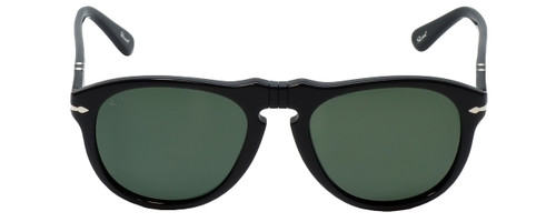 Persol Designer Sunglasses PO0649-9558 in Black & Polarized Green Lens
