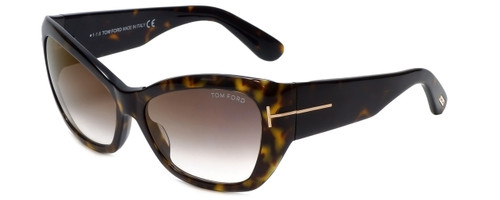 Tom Ford Designer Sunglasses Corinne TF460-52G in Havana with Brown-Gradient Lens