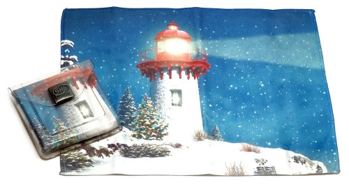 Holiday Christmas Theme Cleaning Cloth, Snow Light