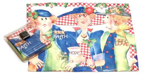 Holiday Christmas Theme Cleaning Cloth, Faith Hope Love