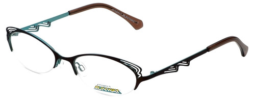 Project Runway Designer Eyeglasses PR122M-171 in Brown Aqua 52mm :: Rx Single Vision