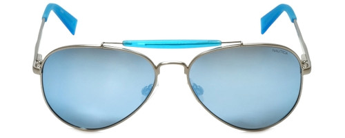 Nautica Designer Sunglasses N5114S-045 in Silver with Blue Flash Mirror