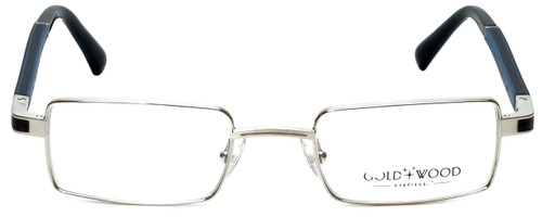 Gold & Wood Designer Eyeglasses Matar-04 in Silver Blue 48mm :: Rx Single Vision