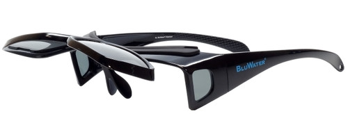 BluWater Polarized Flip-It-GR Fitover Sunglasses in Black