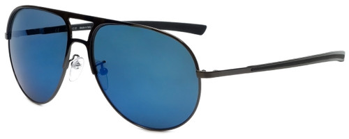 Police Designer Sunglasses Race 1 in Shiny Gunmetal with Blue Mirror Lens